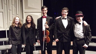 Cvetozar Vutev with members of the youth string orchestra