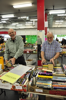 Volunteers working at Kamloops Symphony's Barb's Used Book & Music Sale fundraiser